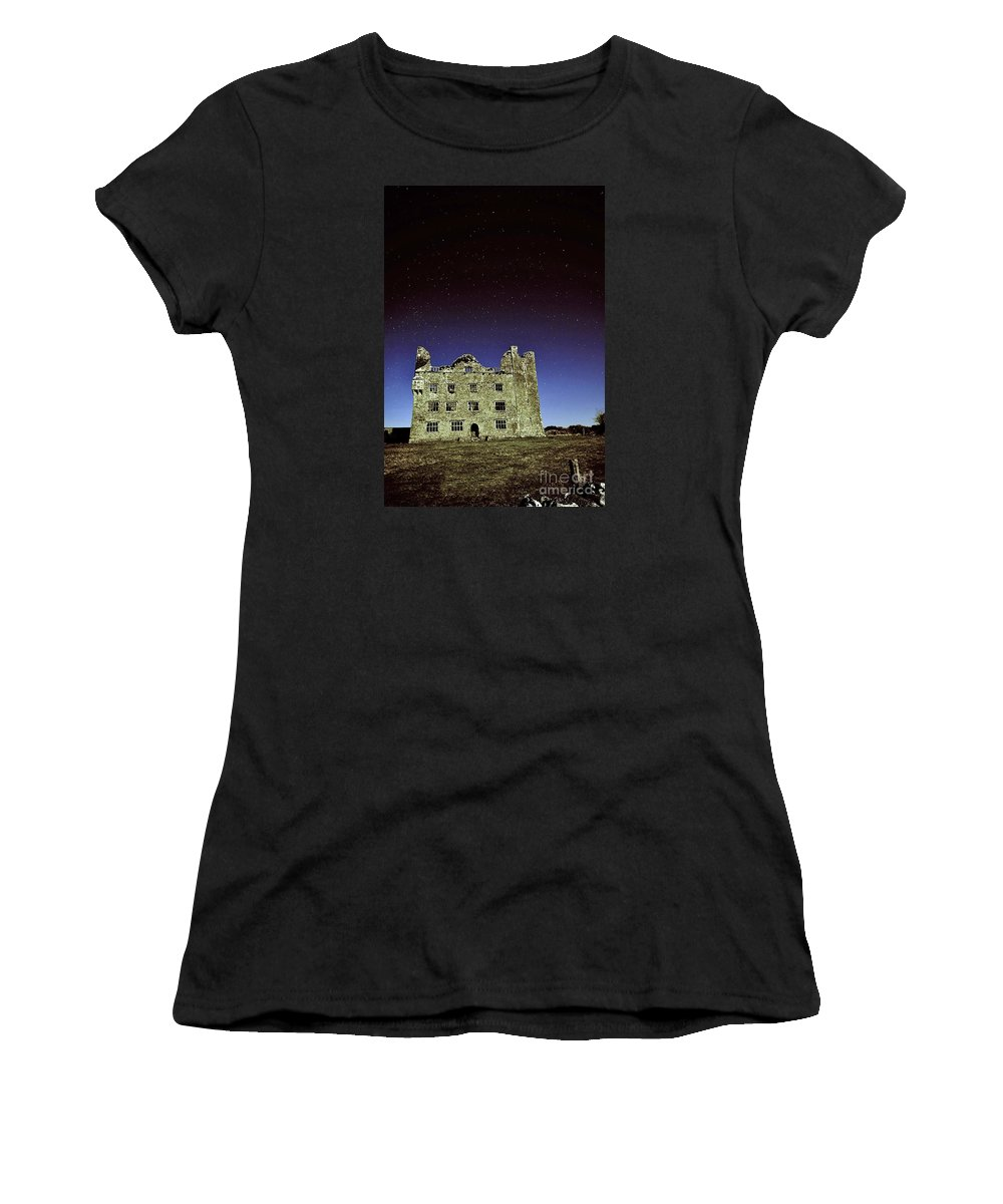 Leamanch Castle Women's T-Shirt featuring the photograph Midnight Blue At Leamanch Castle The Gateway To The Burren by Niall Cosgrove