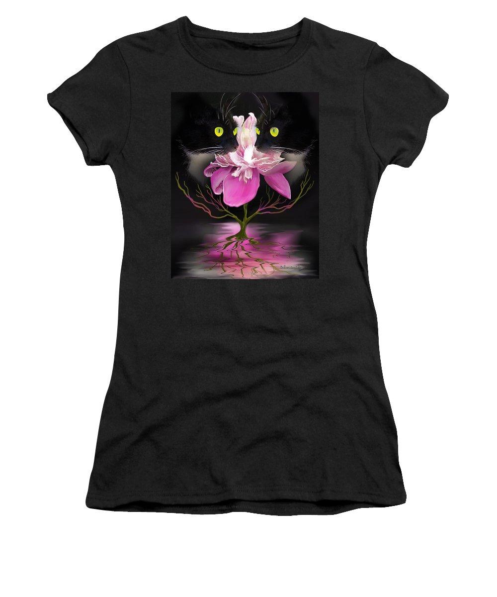 Cats Women's T-Shirt featuring the digital art Midnight Dance by Billie Jo Ellis