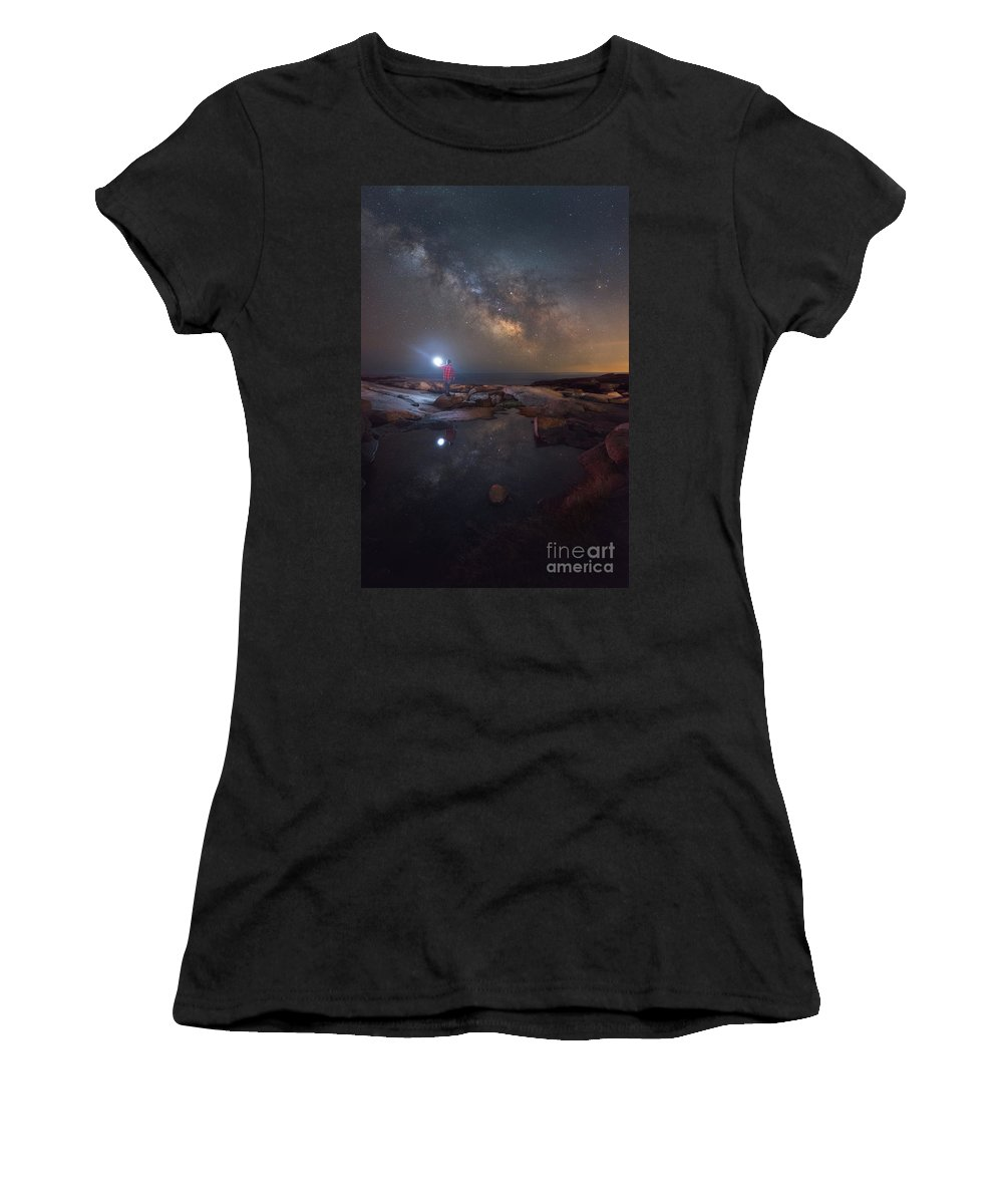 Midnight Explorer Women's T-Shirt (Athletic Fit) featuring the photograph Midnight Explorer Mirror Finish by Michael Ver Sprill