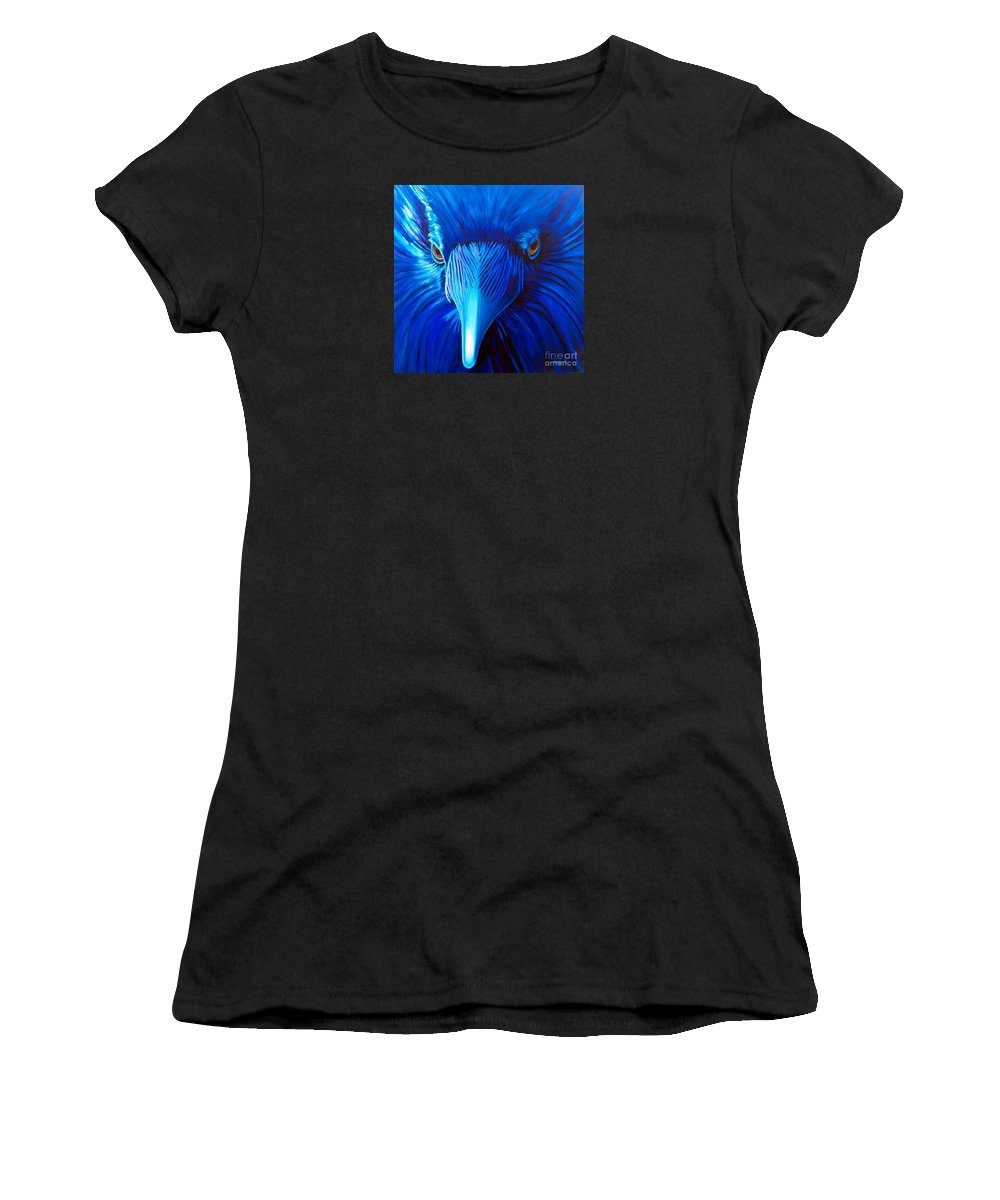 Raven Women's T-Shirt (Athletic Fit) featuring the painting Midnight Magic by Brian Commerford