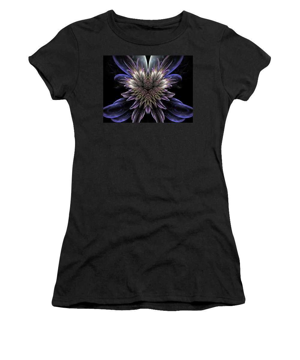 Fractal Art Women's T-Shirt (Athletic Fit) featuring the digital art Midnight Magnolia by Amorina Ashton