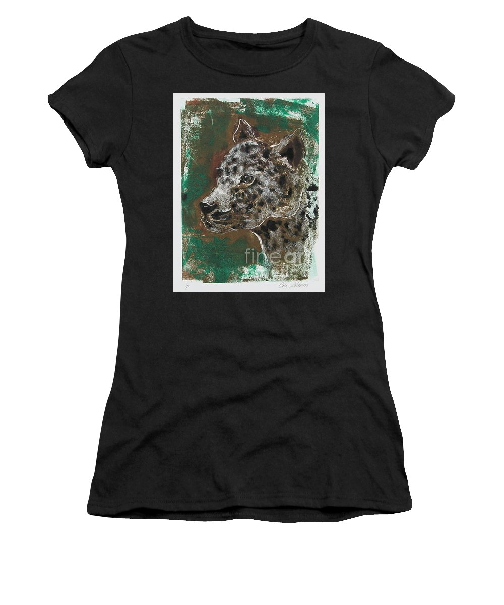 Monotype Women's T-Shirt (Athletic Fit) featuring the mixed media Midnight Prowler by Cori Solomon