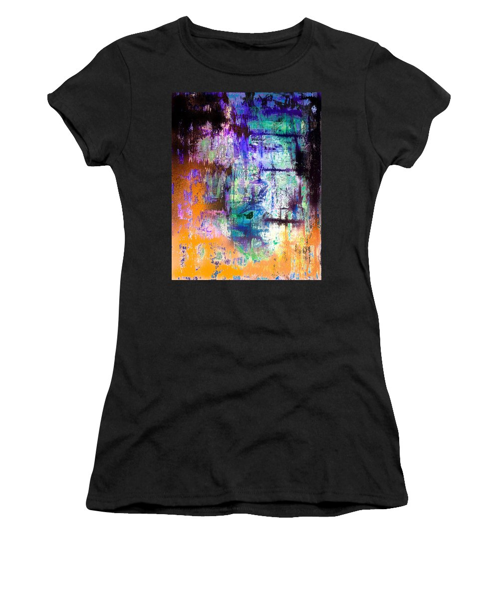 Midnight Train Goin Anywhere Women's T-Shirt featuring the mixed media Midnight Train Goin Anywhere by Wayne Cantrell