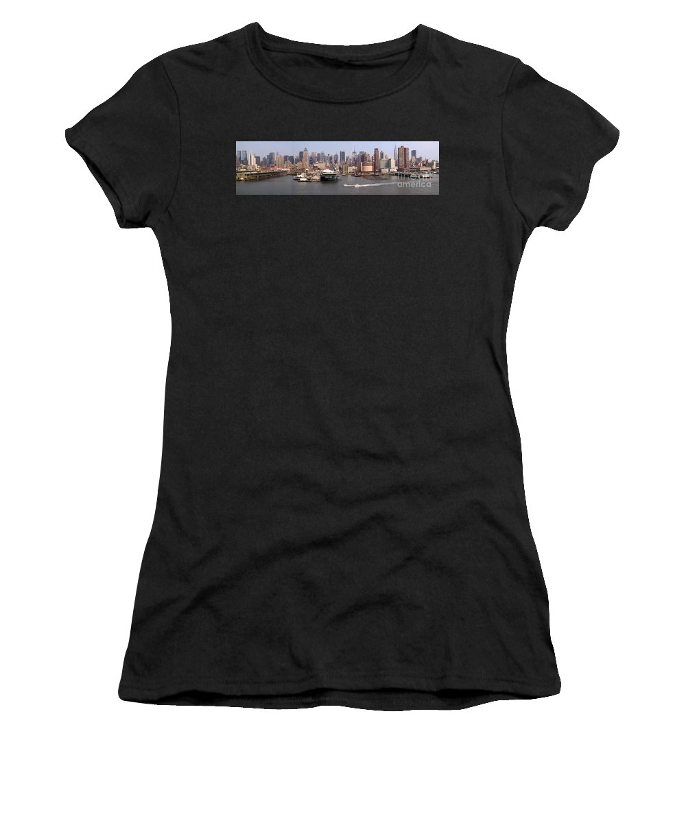 Manhattan Women's T-Shirt featuring the photograph Midtown Manhattan Panorama by Thomas Marchessault