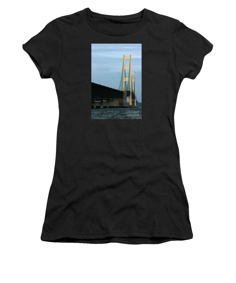 Bridge Women's T-Shirt featuring the photograph Mighty Mac by Linda Shafer