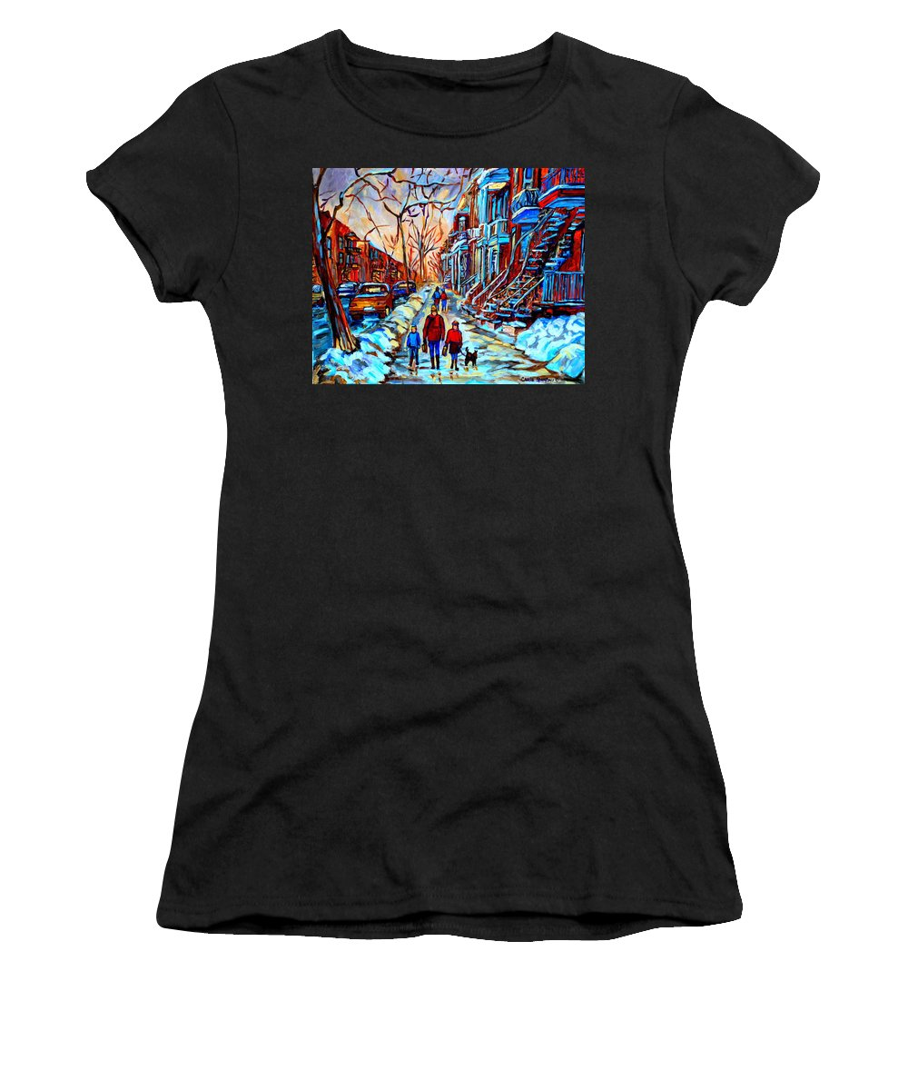 Montreal Women's T-Shirt (Athletic Fit) featuring the painting Mile End Montreal Neighborhoods by Carole Spandau