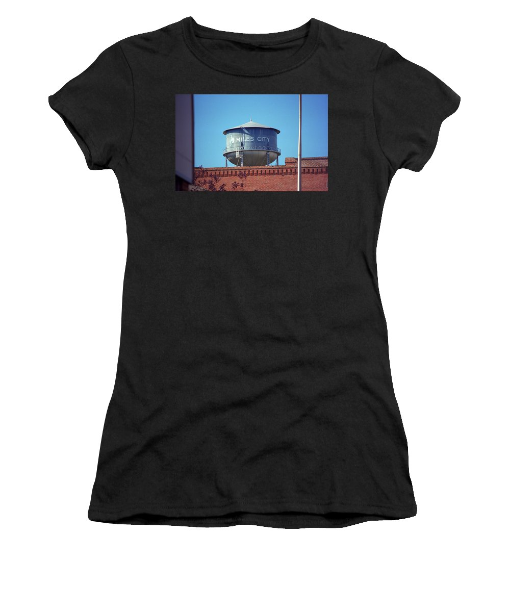 America Women's T-Shirt featuring the photograph Miles City, Montana - Water Tower by Frank Romeo