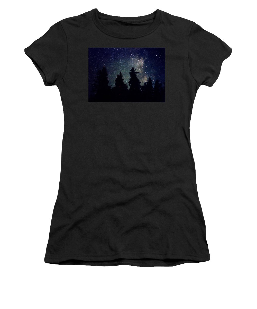 Milky Way Women's T-Shirt (Athletic Fit) featuring the photograph Milky Way Above Northern Forest 22 by Lyle Crump