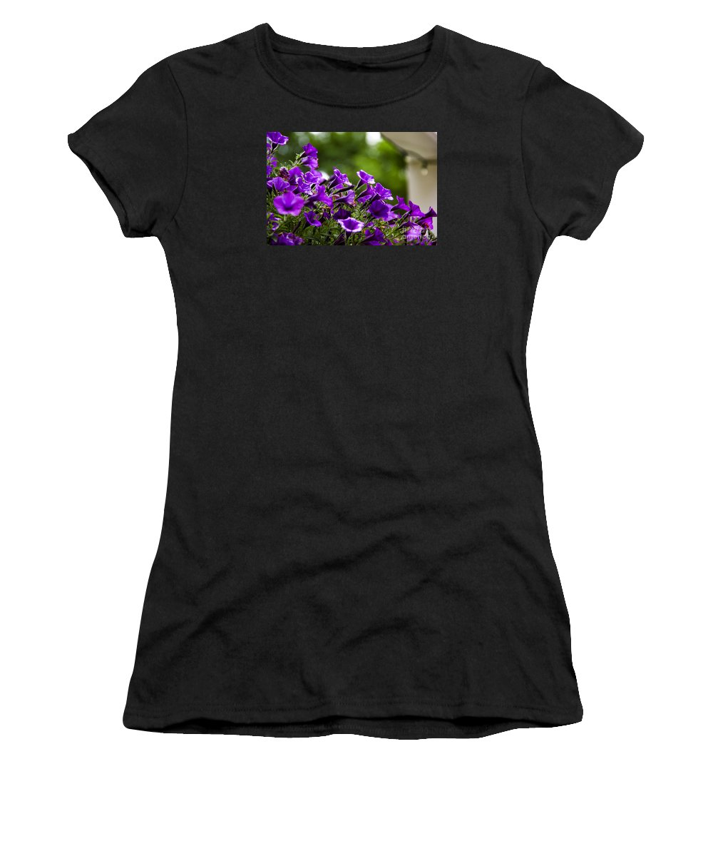 Petunias Women's T-Shirt (Athletic Fit) featuring the photograph Mill Hill Inn Petunias by Marina McLain