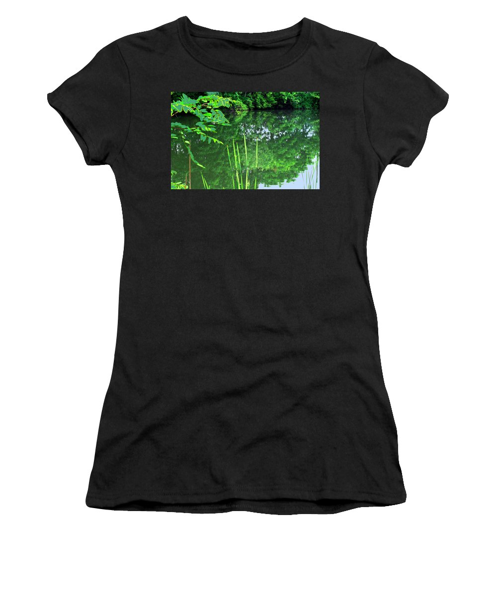 Black Creek Women's T-Shirt featuring the photograph Mill Pond Reflections by Ian MacDonald