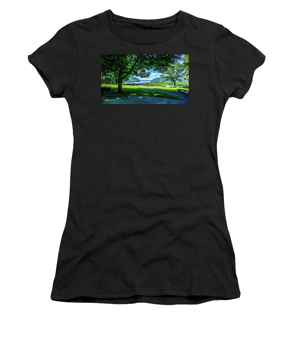 This Is The Expanded View From The West Point Military Academy Looking Up The Hudson River In West Point New York. Women's T-Shirt featuring the photograph Million Dollar View From West Point Military Academy by William Rogers