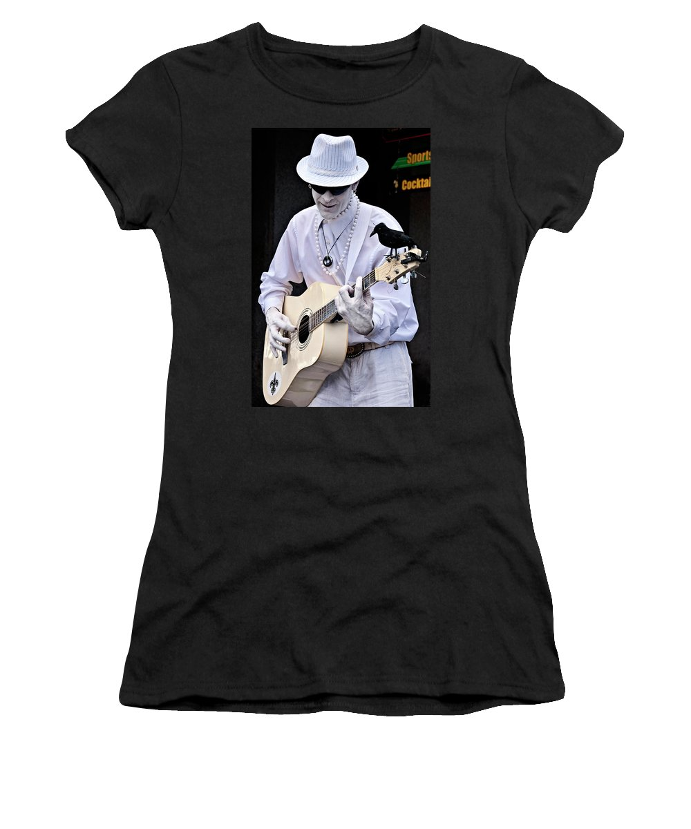 Photography Women's T-Shirt (Athletic Fit) featuring the photograph Mime And Guitar by Kathleen K Parker