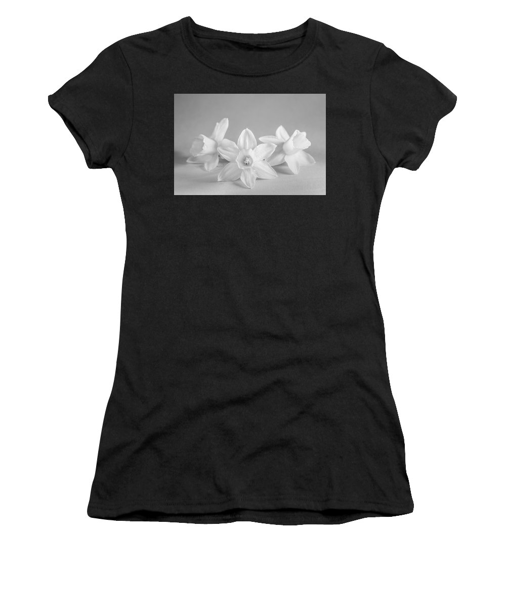 Mini Narcissus Women's T-Shirt featuring the photograph Mini Narcissus Black And White 2 by Iris Richardson