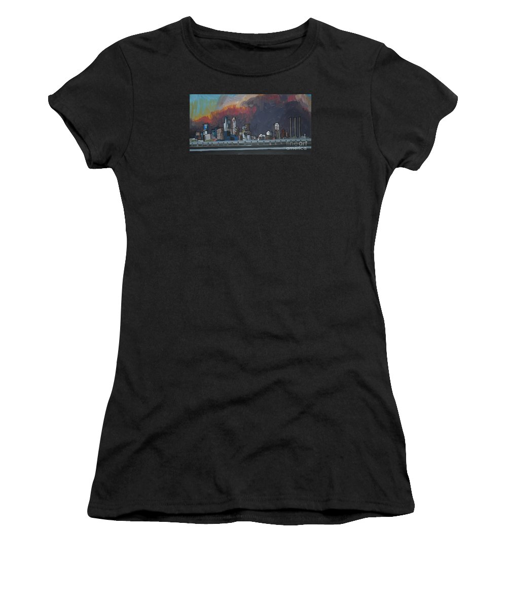 Minneapolis Women's T-Shirt (Athletic Fit) featuring the painting Minneapolis by Caroline Davis