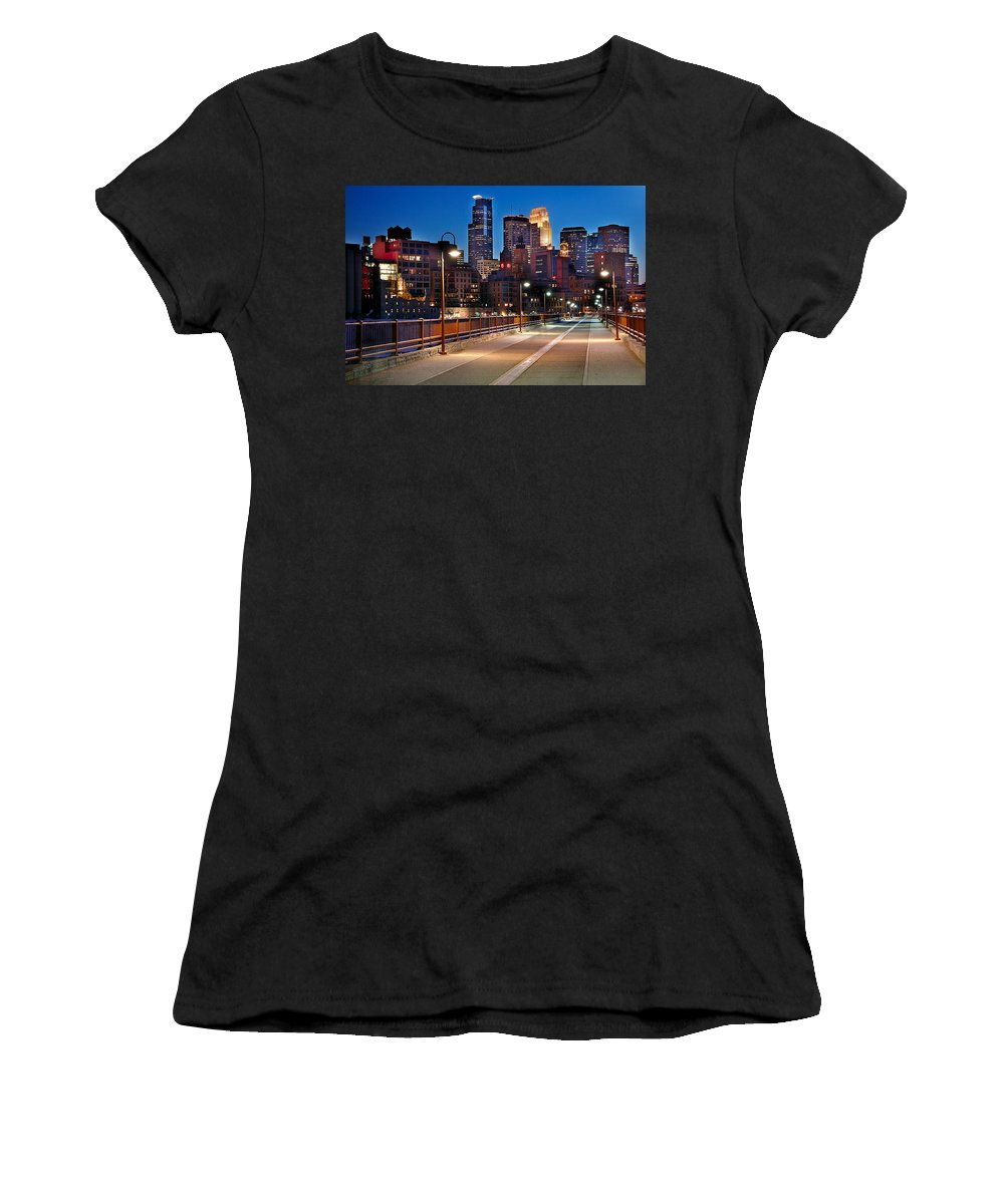 Minneapolis Skyline Women's T-Shirt (Athletic Fit) featuring the photograph Minneapolis Skyline From Stone Arch Bridge by Jon Holiday