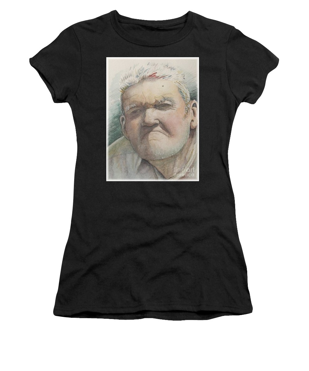 Portrait Women's T-Shirt (Athletic Fit) featuring the painting Minnesota Farmer by Nadine Rippelmeyer
