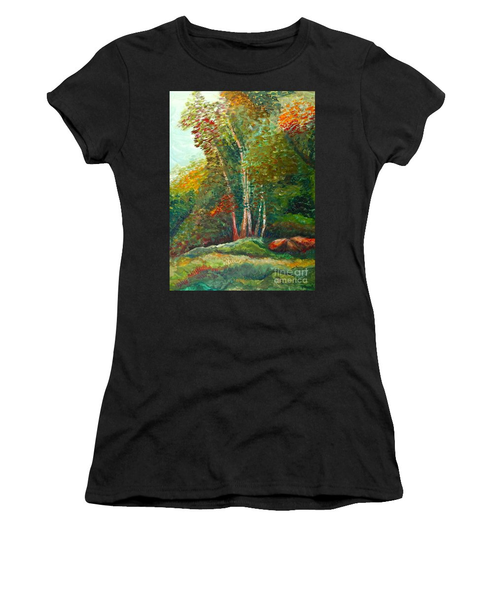 Landscape Women's T-Shirt featuring the painting Minnesota Quartet by Nadine Rippelmeyer