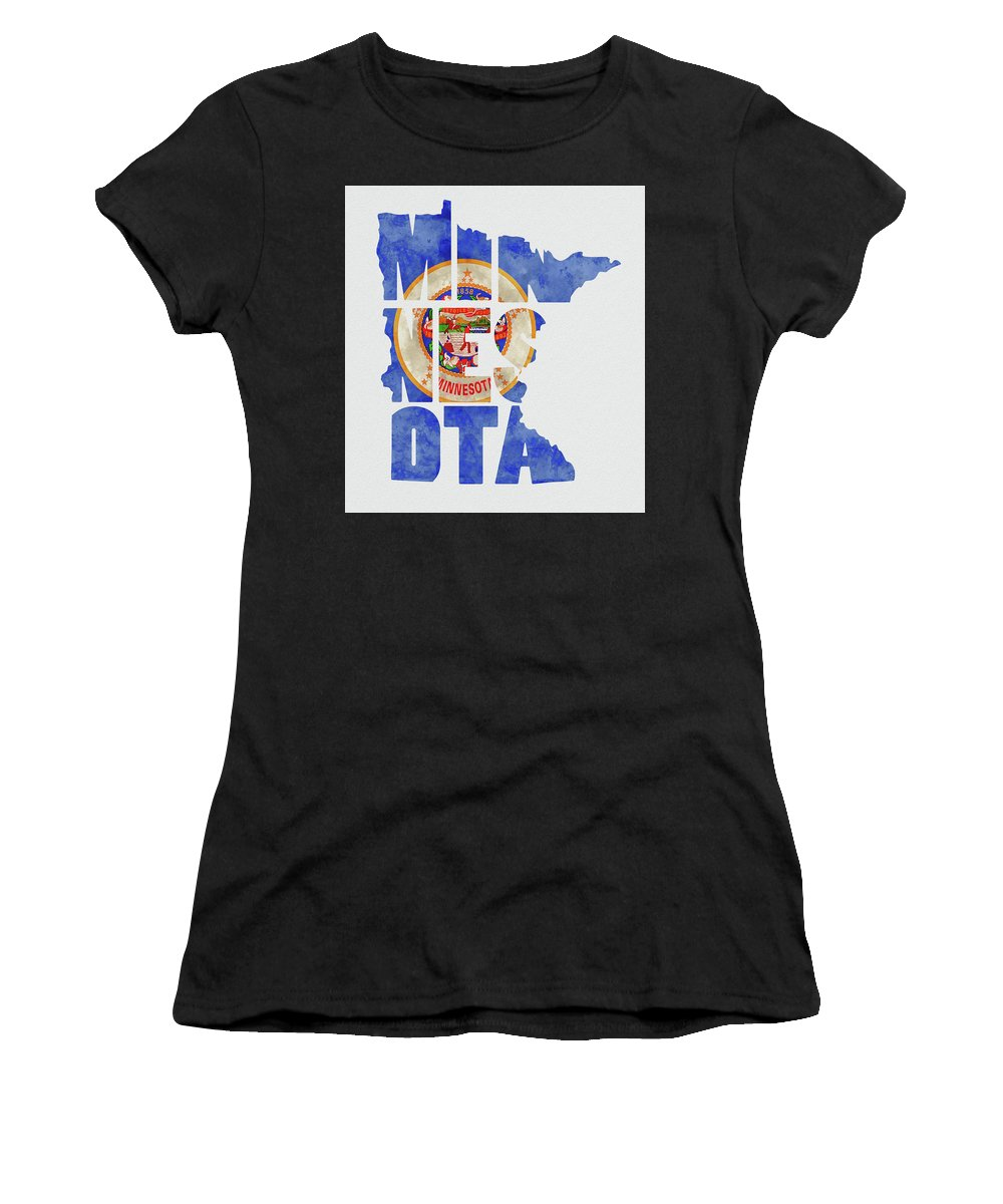 Minnesota Minnesota Map Minnesota Flag Minneapolis Saint Paul Rochester World Map United States Of America States State Usa Map Flag Typography Kevin O'hare Women's T-Shirt (Athletic Fit) featuring the mixed media Minnesota Typography Map Flag by Kevin O'Hare