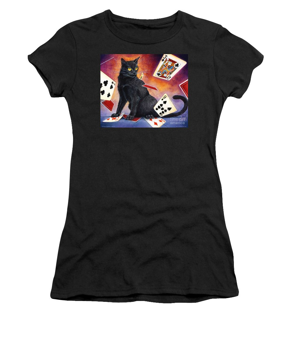 Cat Women's T-Shirt (Athletic Fit) featuring the painting Mischief Kitten by Melissa A Benson