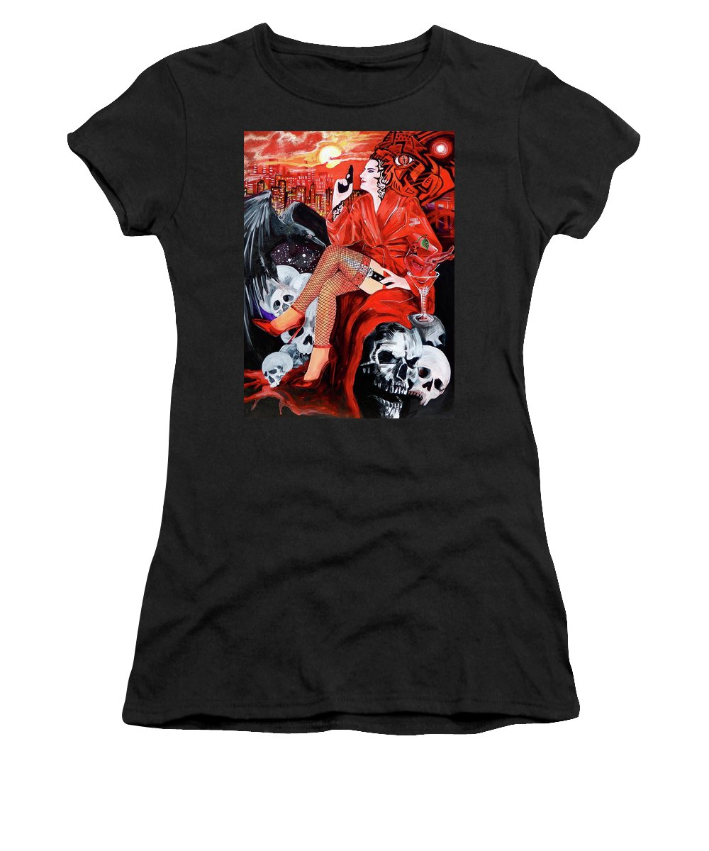 Woman Women's T-Shirt (Athletic Fit) featuring the painting Mision Impossible by Yelena Tylkina