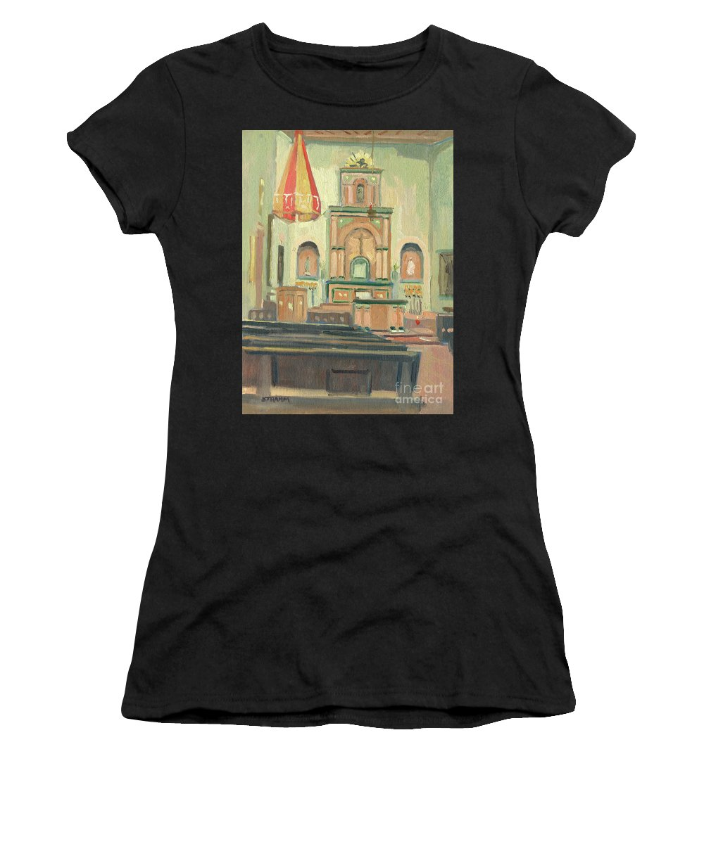 California Missions Women's T-Shirt featuring the painting Mission San Diego De Alcala, San Diego, California by Paul Strahm