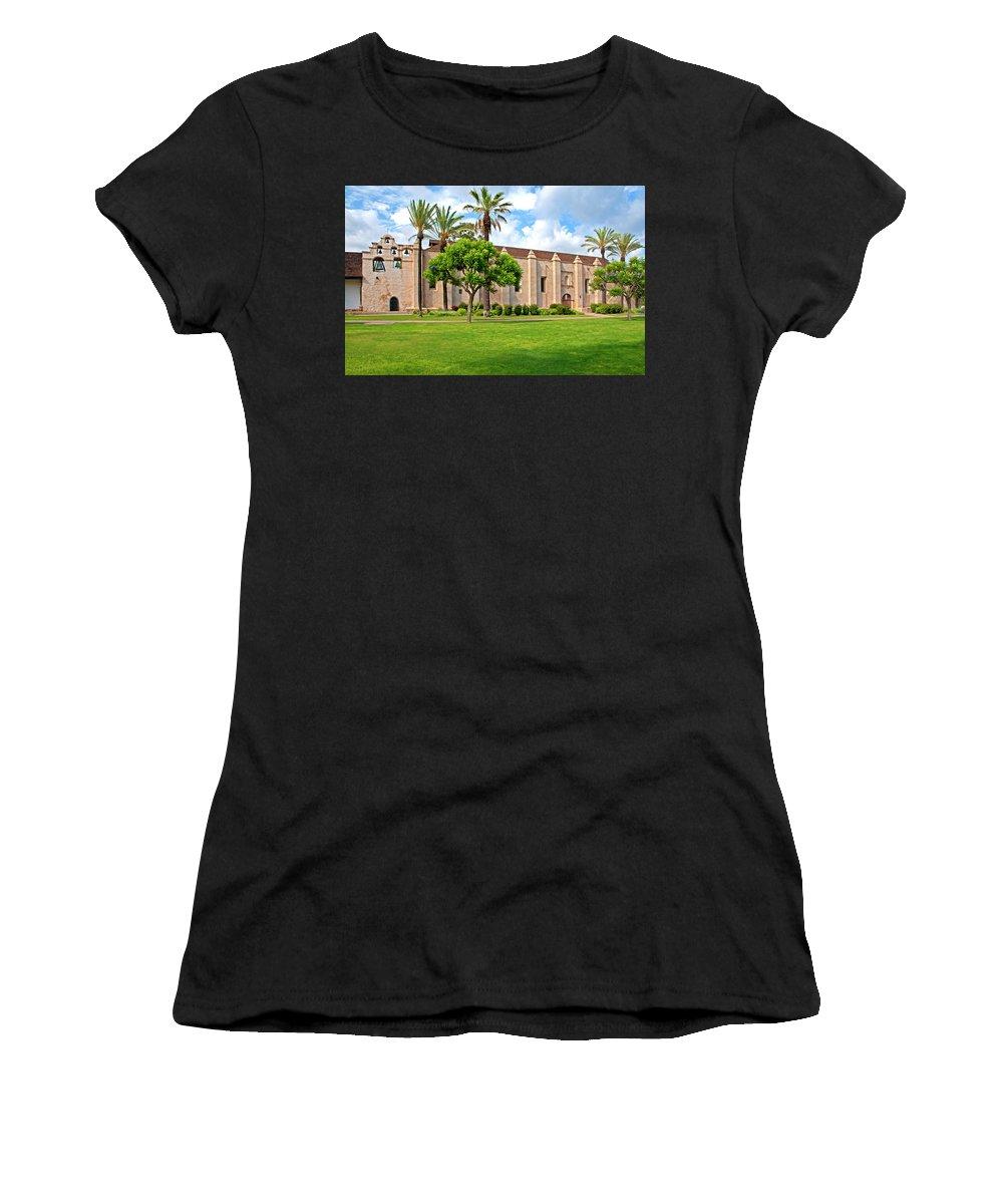 California Missions Women's T-Shirt featuring the photograph Mission San Gabriel Arcangel, San Gabriel, California by Denise Strahm