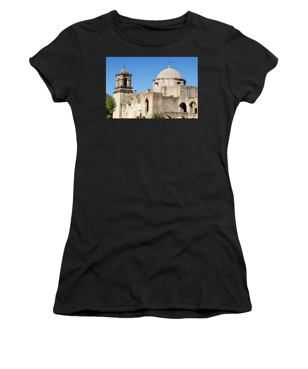 Mission Women's T-Shirt (Athletic Fit) featuring the photograph Mission San Jose Towers by Shanna Hyatt