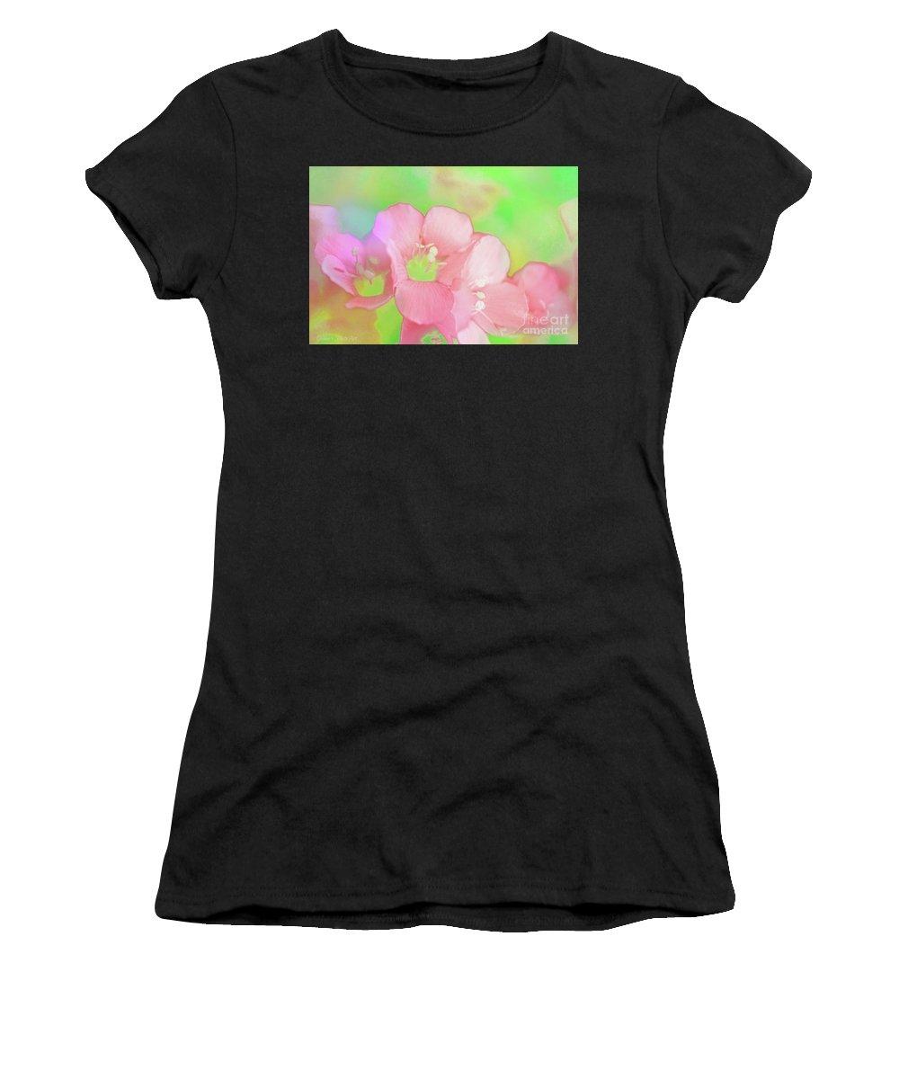 Tiny Women's T-Shirt featuring the photograph Missouri Wildflowers 5 - Polemonium Reptans - Digital Paint 7 by Debbie Portwood