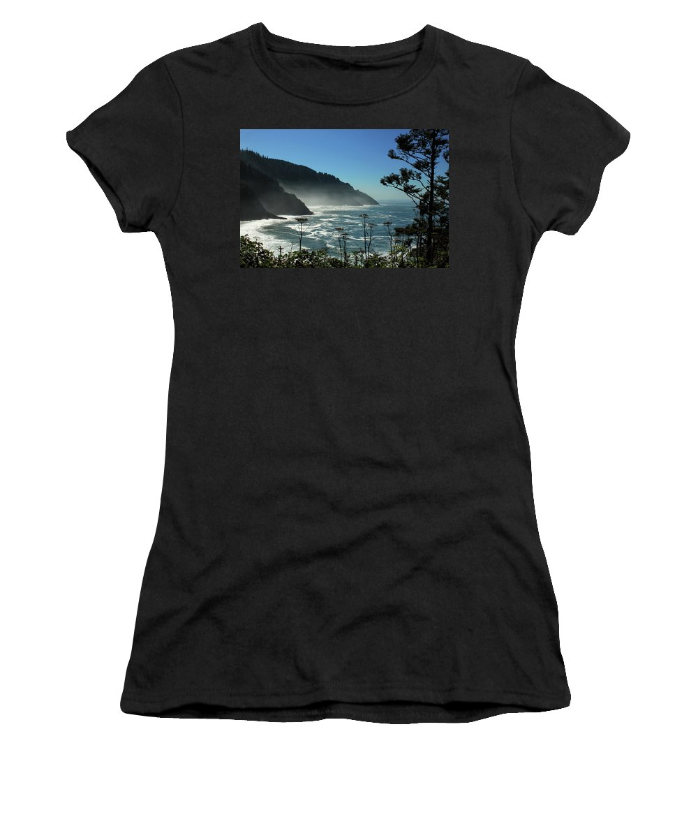 Ocean Women's T-Shirt featuring the photograph Misty Coast At Heceta Head by James Eddy