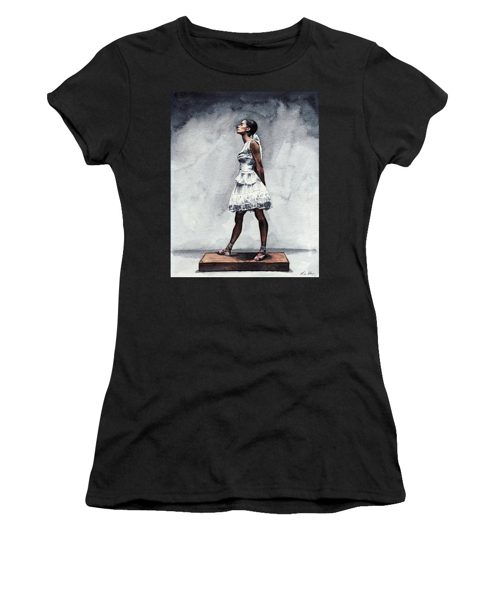 Misty Copeland Women's T-Shirt featuring the painting Misty Copeland Ballerina As The Little Dancer by Laura Row