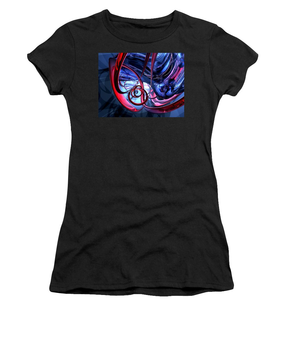 3d Women's T-Shirt (Athletic Fit) featuring the digital art Misty Dreams Abstract by Alexander Butler