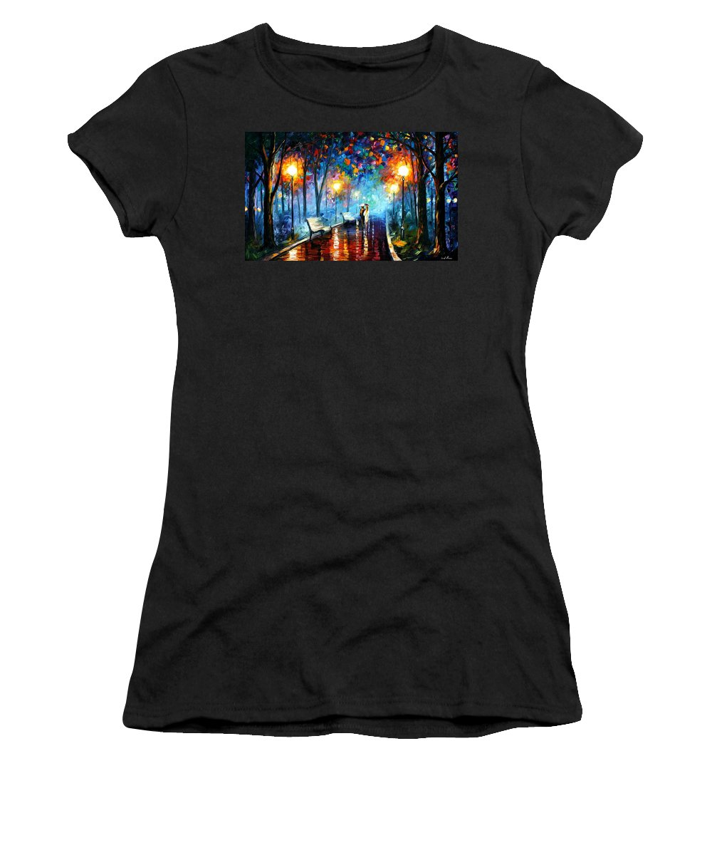 Afremov Women's T-Shirt (Athletic Fit) featuring the painting Misty Mood by Leonid Afremov