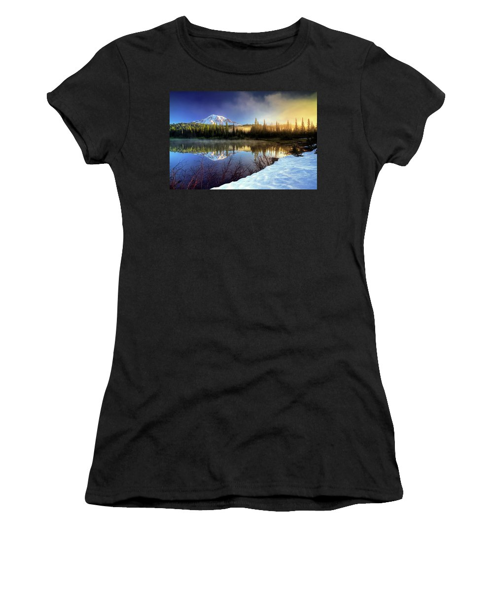 Mountain Women's T-Shirt (Athletic Fit) featuring the photograph Misty Morning Lake by William Freebilly photography