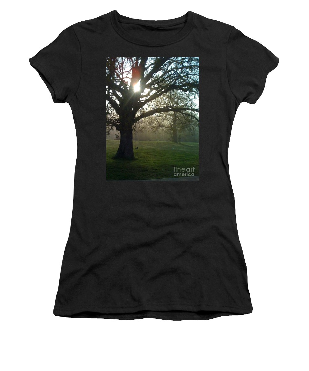 Mist Women's T-Shirt (Athletic Fit) featuring the photograph Misty Morning by Nadine Rippelmeyer