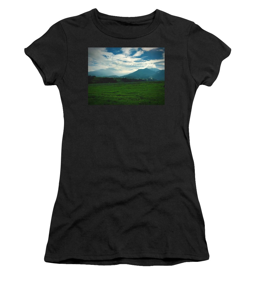 Mountain Women's T-Shirt (Athletic Fit) featuring the photograph Misty Mountain Hop by Brad Hodges