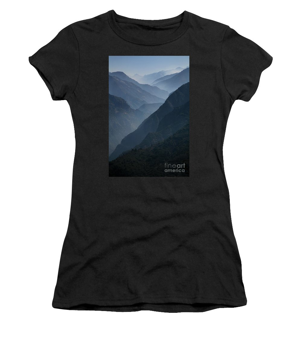 Mountains Women's T-Shirt (Athletic Fit) featuring the photograph Misty Peaks by Timothy Johnson