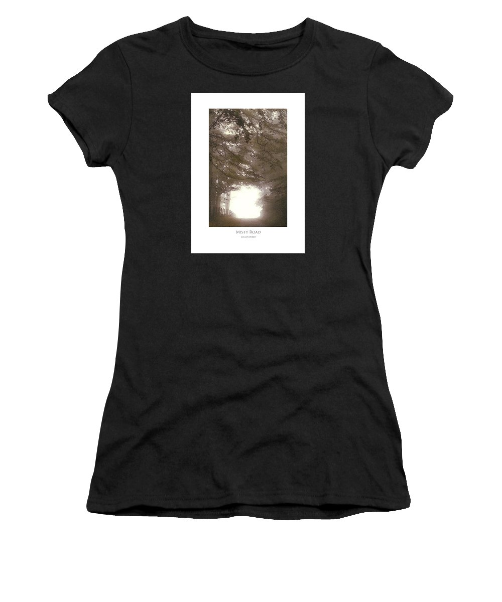 Mist Women's T-Shirt (Athletic Fit) featuring the digital art Misty Road by Julian Perry