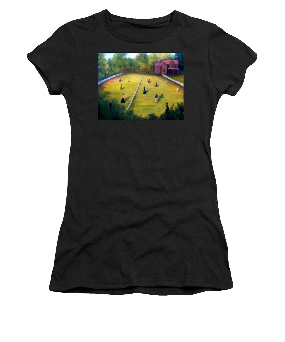 Tennis Art Women's T-Shirt featuring the painting Mixed Doubles by Gail Kirtz