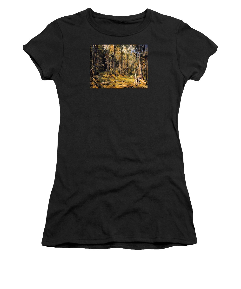 Painting Women's T-Shirt (Athletic Fit) featuring the painting Mixed Forest by Mountain Dreams