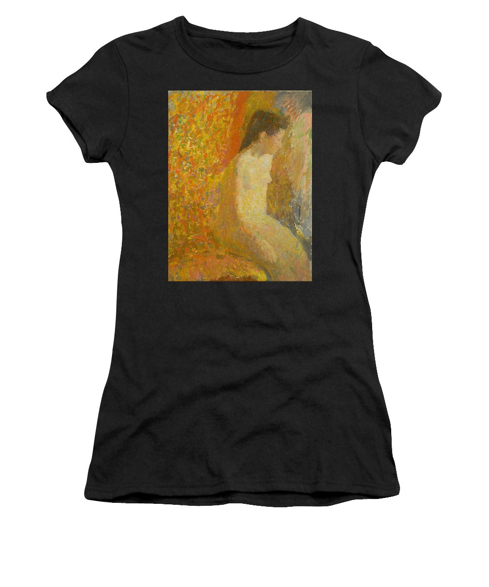 Beauty Women's T-Shirt (Athletic Fit) featuring the painting Model by Robert Nizamov