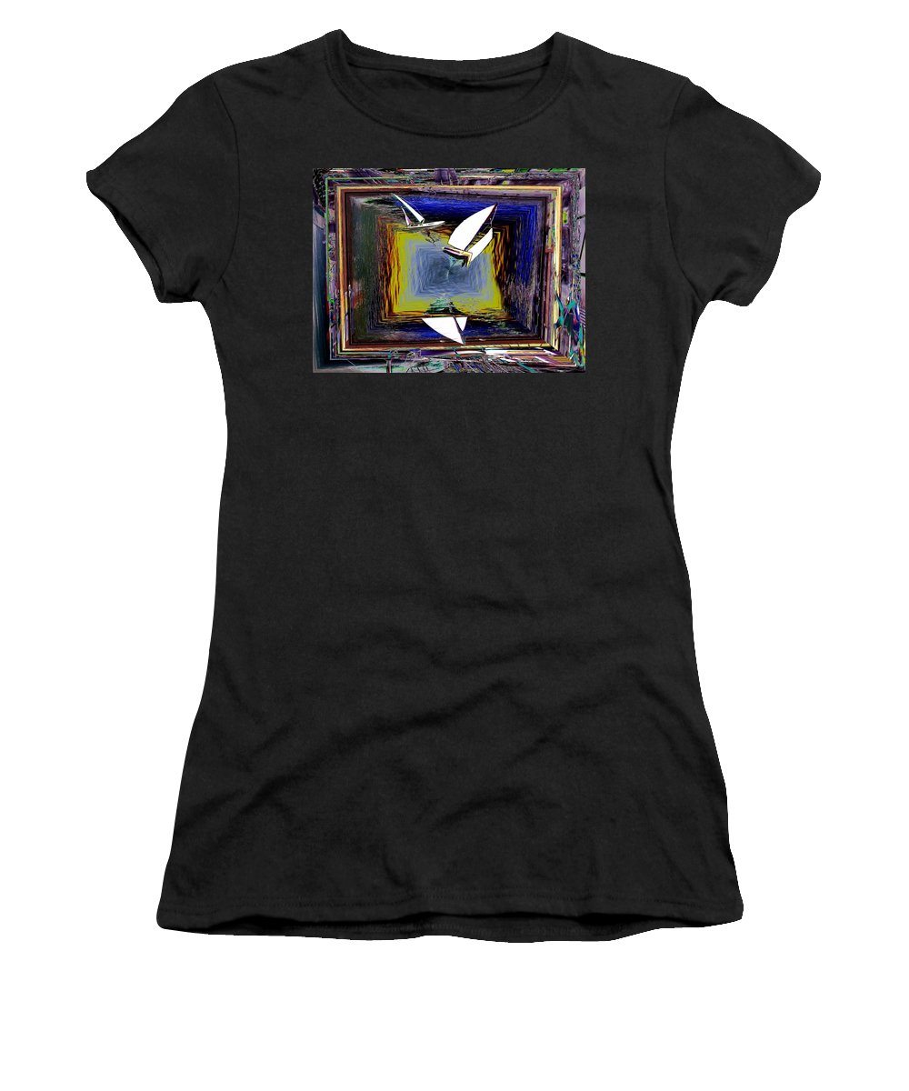 Sail Women's T-Shirt (Athletic Fit) featuring the digital art Model Sailboats by Tim Allen
