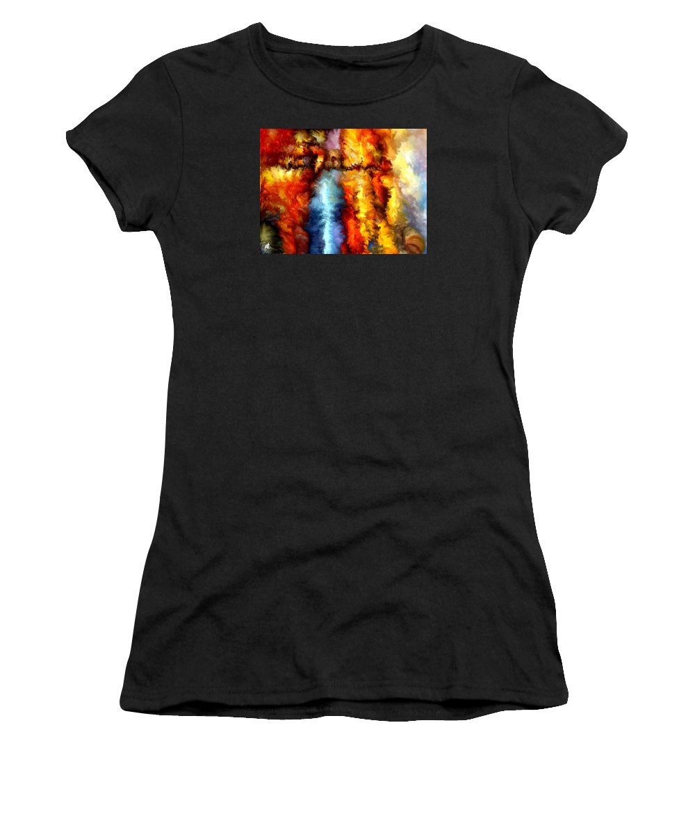 Contemporary Women's T-Shirt (Athletic Fit) featuring the painting Modern Composition 05 by Rafi Talby