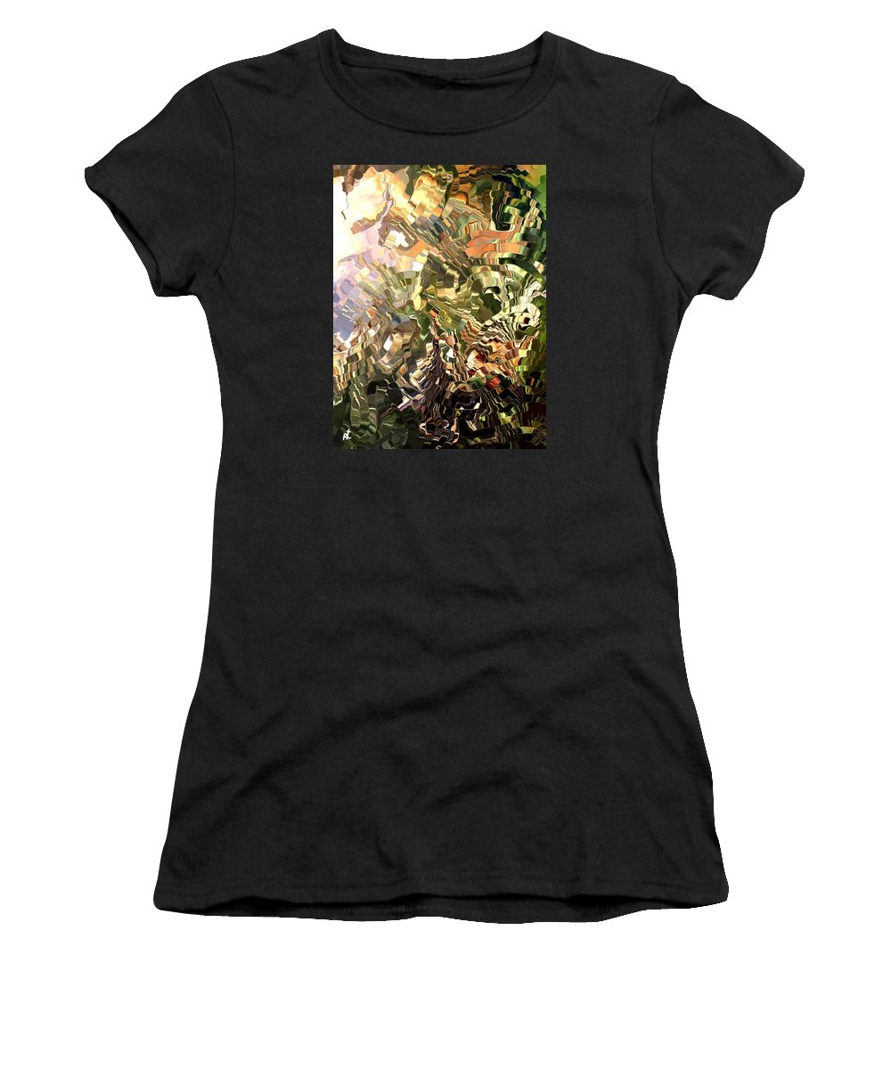 Contemporary Women's T-Shirt (Athletic Fit) featuring the painting Modern Composition 28 by Rafi Talby