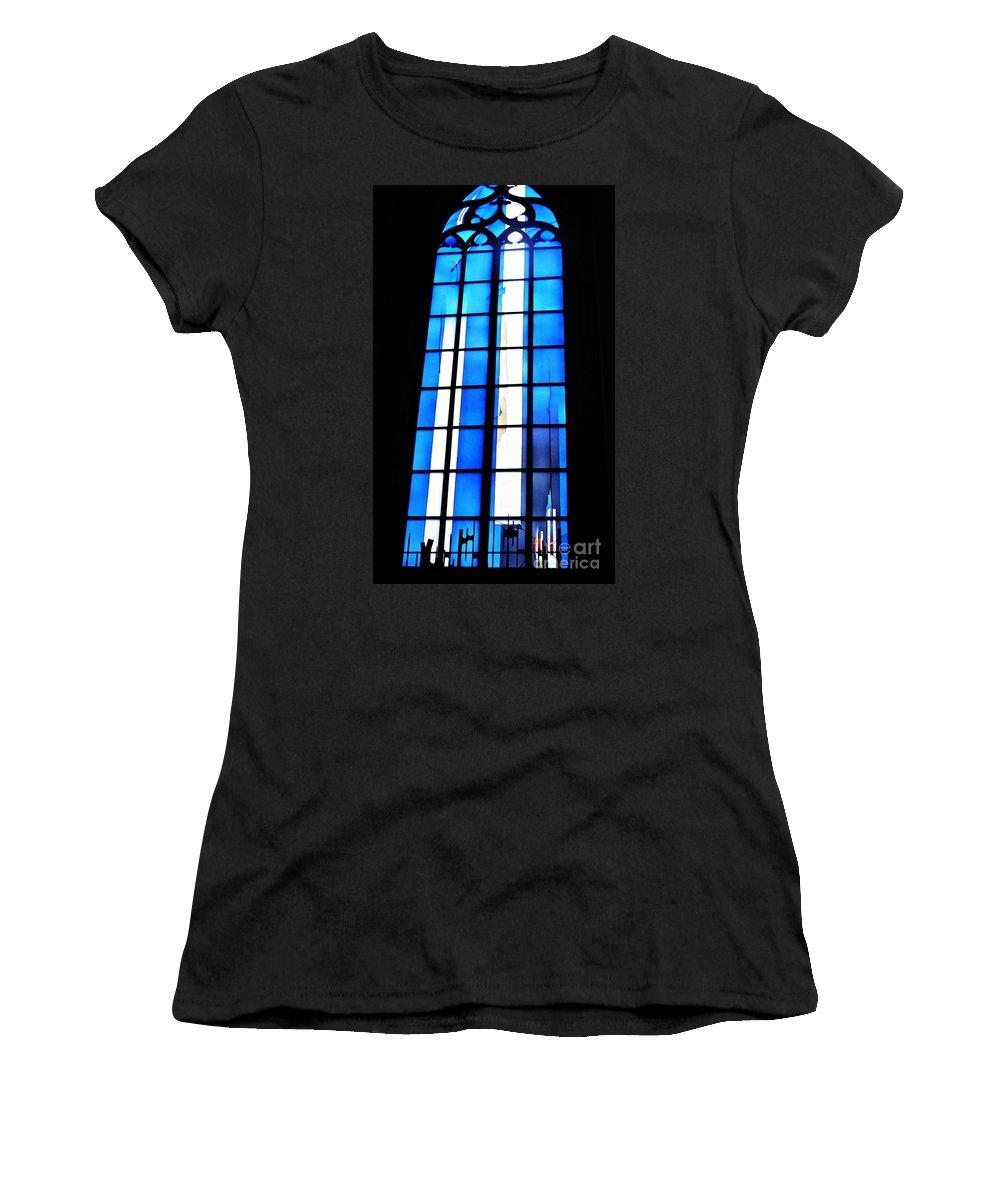 Johannes Schreiter Women's T-Shirt (Athletic Fit) featuring the photograph Modern Johannes Schreiter Window Mainz 2 by Sarah Loft