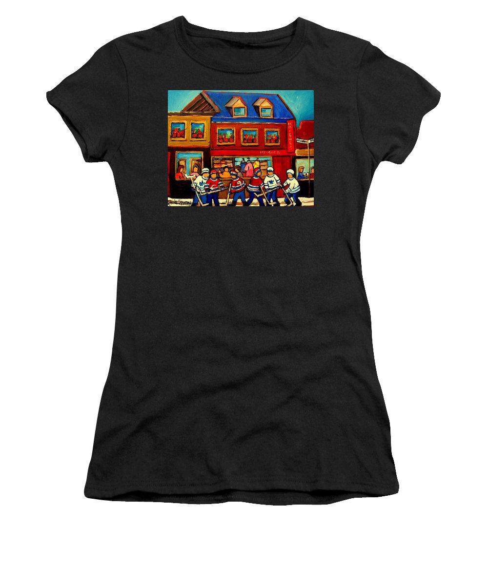 Moishes Steakhouse Women's T-Shirt (Athletic Fit) featuring the painting Moishes Steakhouse Hockey Practice by Carole Spandau