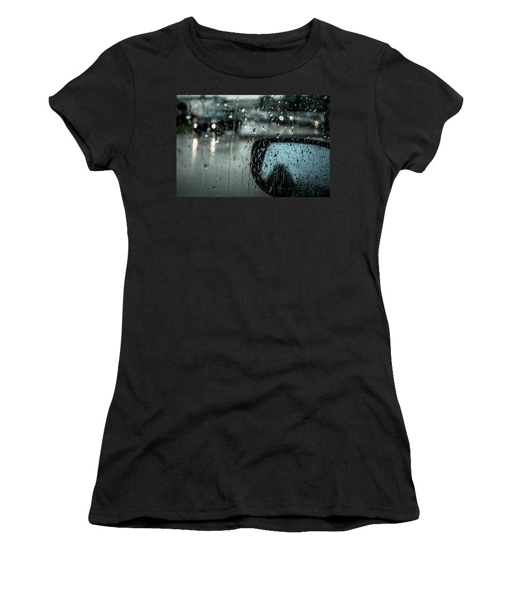 Rainy Drive Women's T-Shirt (Athletic Fit) featuring the photograph Moisture by David Sutton