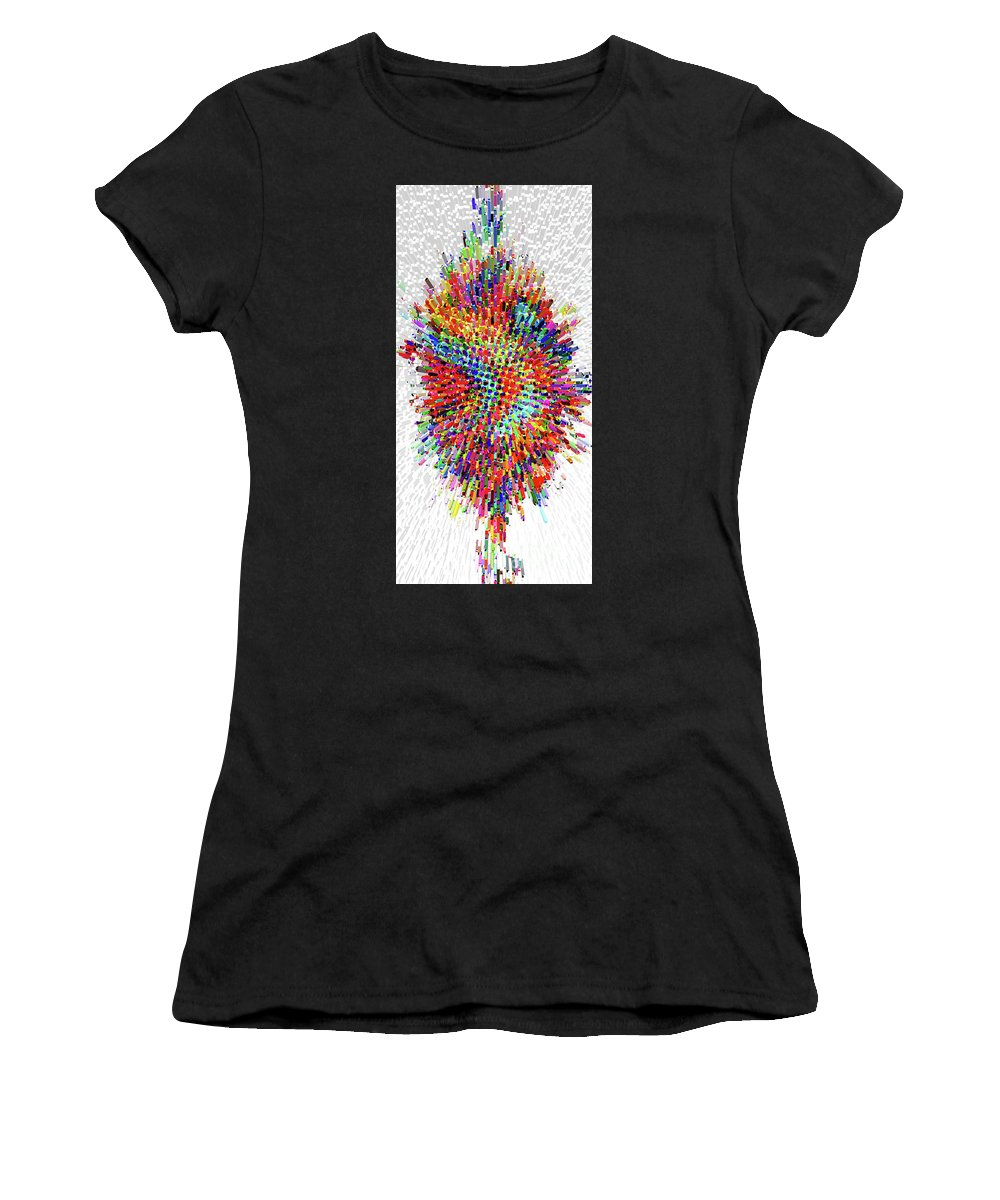 Floral Women's T-Shirt (Athletic Fit) featuring the digital art Molecular Floral Abstract by Genevieve Esson