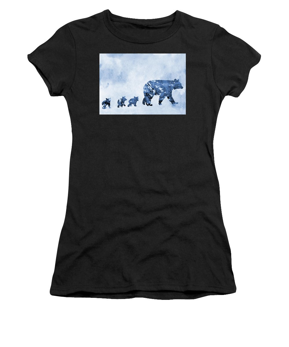 Mom And Baby Bears Women's T-Shirt (Athletic Fit) featuring the digital art Mom And Baby Bears-blue by Erzebet S
