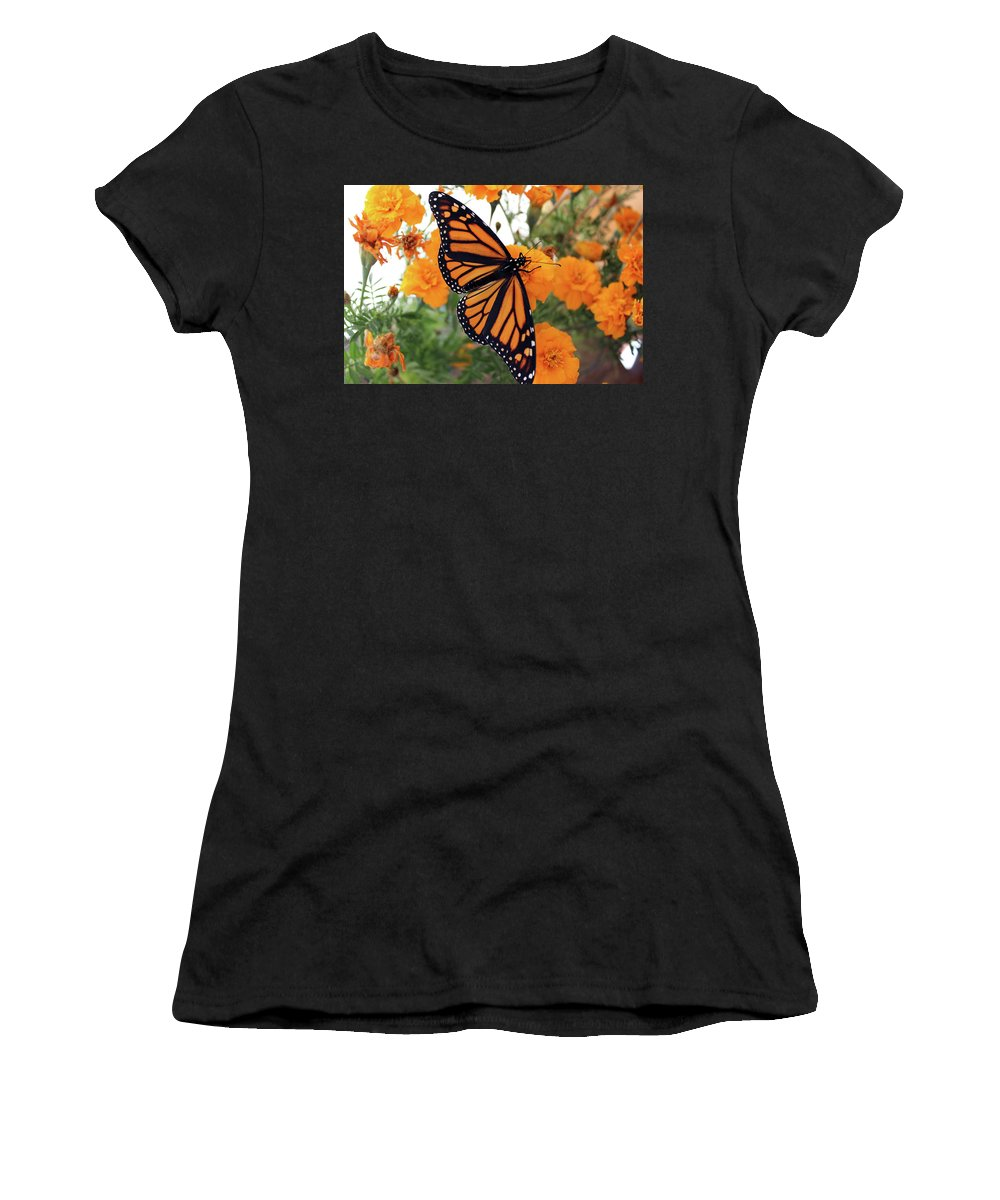 Bugs Women's T-Shirt (Athletic Fit) featuring the photograph Monarch Series 1 by Samantha Burrow