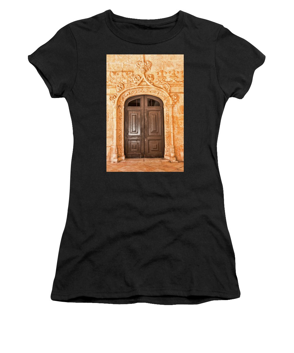 Monastery Of Jeronimos Women's T-Shirt (Athletic Fit) featuring the photograph Monastery Of Jeronimos Door by Curt Rush